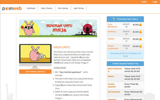 poin web - game penghasil uang langsung cair
