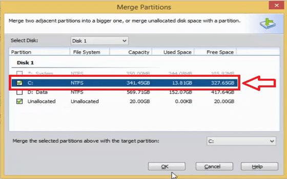 Cara Menambah Partisi C Windows 10 Centang Drive C Lalu Klik Ok A0ce1
