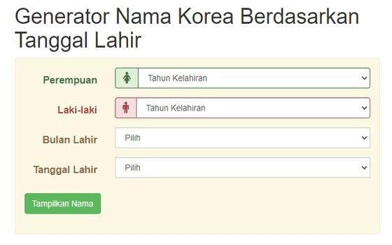 Cara Membuat Nama Korea Generator B6402