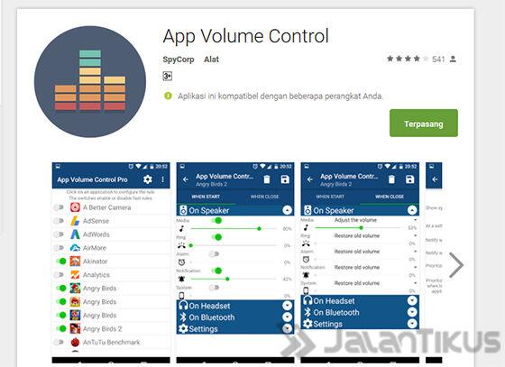 Install Aplikasi App Volume Control