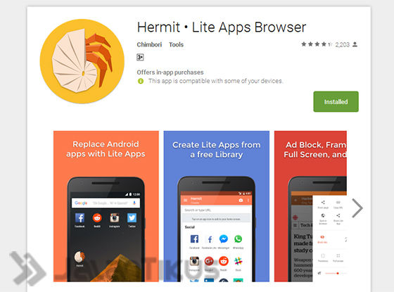 Install Hermit Lite Apps Browser