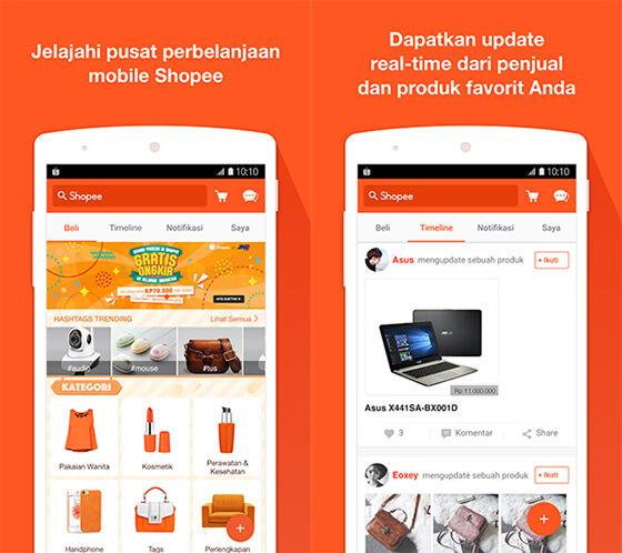 Shopee - 5 Aplikasi Shopping Android Yang Membuat Shopping Menjadi Tanpa Harus Keluar Rumah