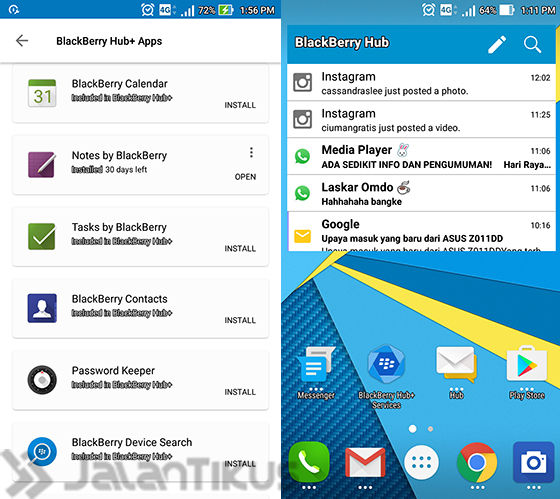 Blackberry Hub Android Tampilan