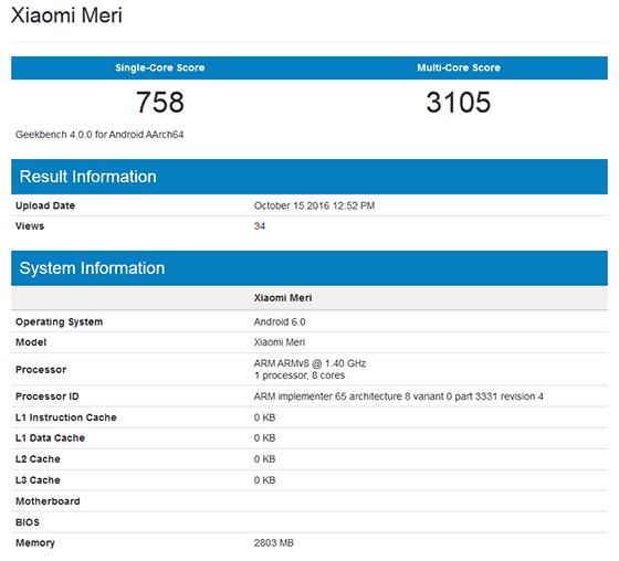 Xiaomi Meri Geekbench