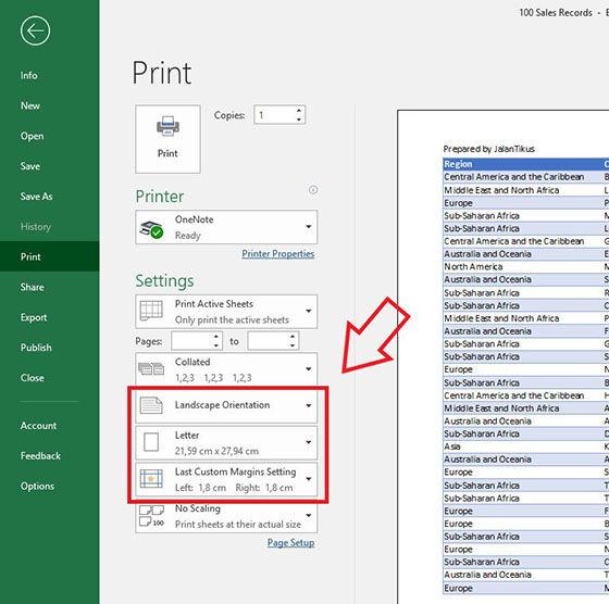 Cara Print Excel Kanan Kiri C242c