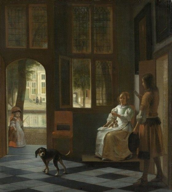 Lukisan Man Handing A Letter To A Woman In The Entrance Hall Of A House 6b433