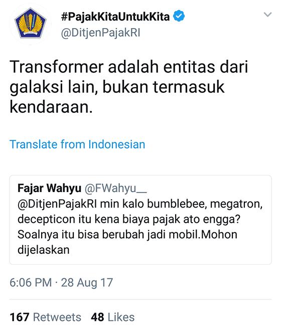 Tweet Kocak Ditjenpajakri 11