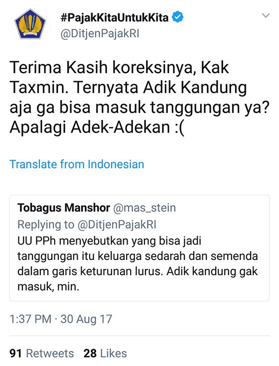 Tweet Kocak Ditjenpajakri 08