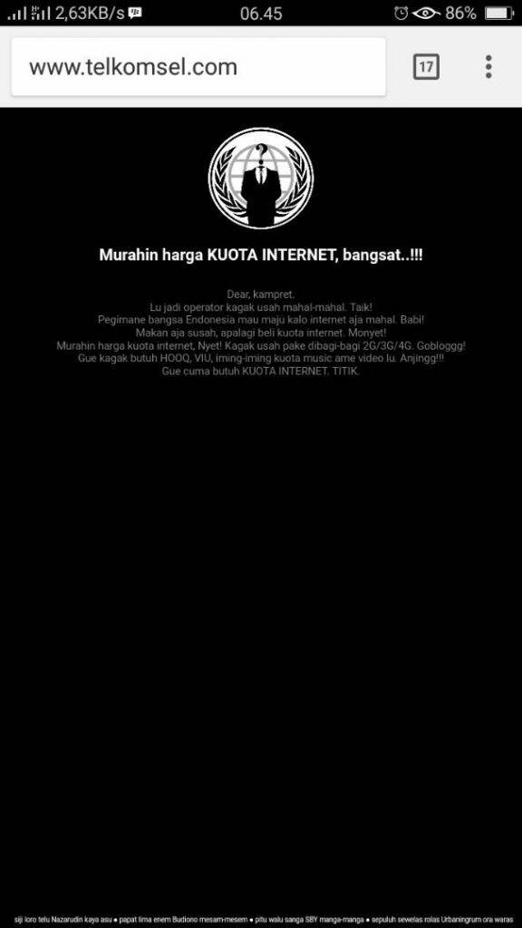 Website Telkomsel Dihack
