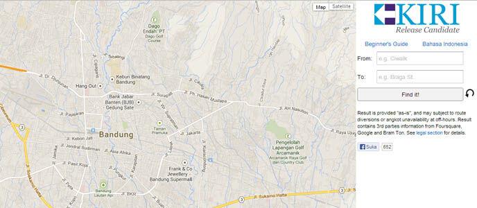 Kiri, Layanan Online Map dan Informasi Bandung yang Lengkap