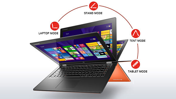 Lenovo Laptop Convertible Yoga 2 13 Inch Orange Front Modes 1