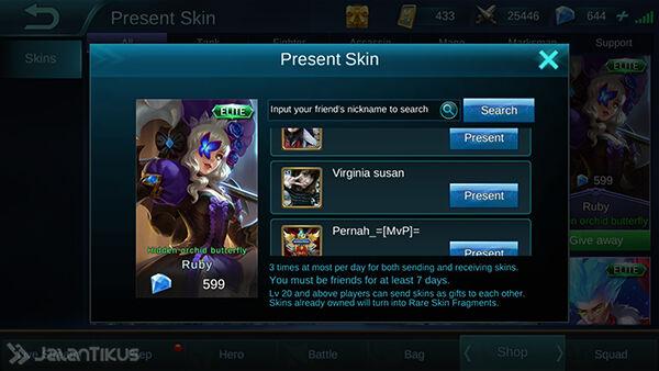 Cara Memberi Skin Mobile Legends 4