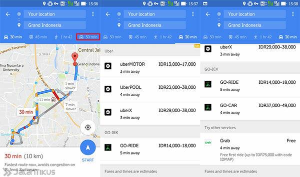 Tarif Ojek Online Via Google Maps 3