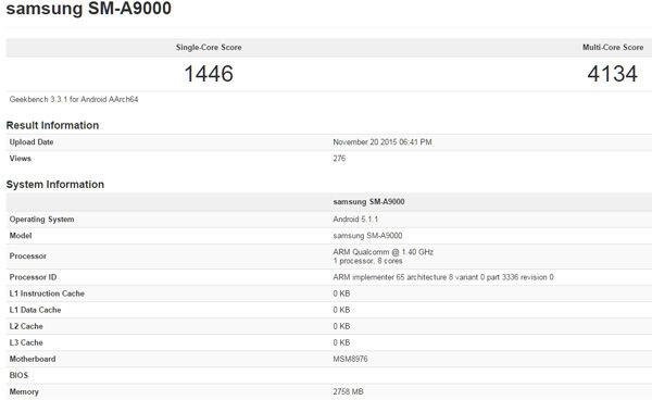 Benchmark Samsung Galaxy A9 2