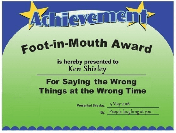 foot in mouth award