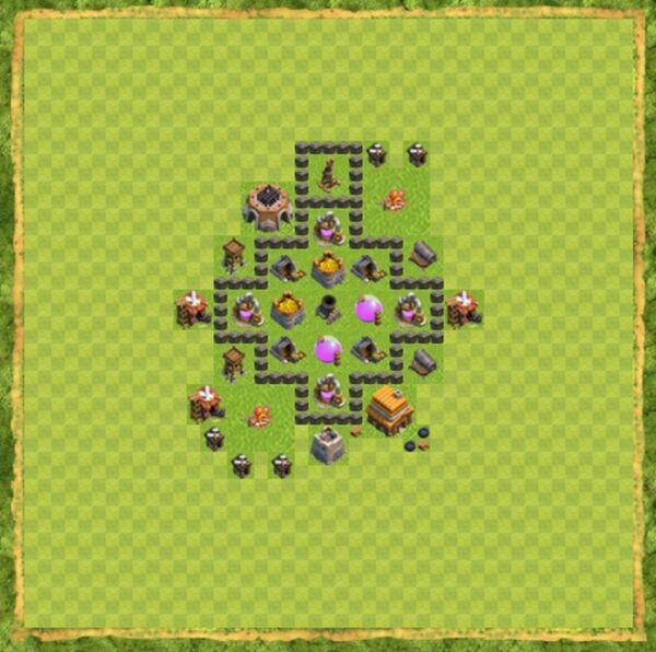 Base Farming Coc Th 4 Terbaru 4