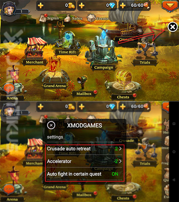 Cheat Heroes Charge Di Android Dengan Xmodgames 3