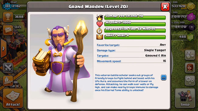 Grand Warden Hero Baru Coc 4