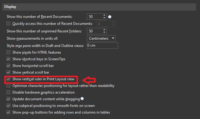 Cara Menampilkan Ruler Di Word Klik Advanced Lalu Display E8848