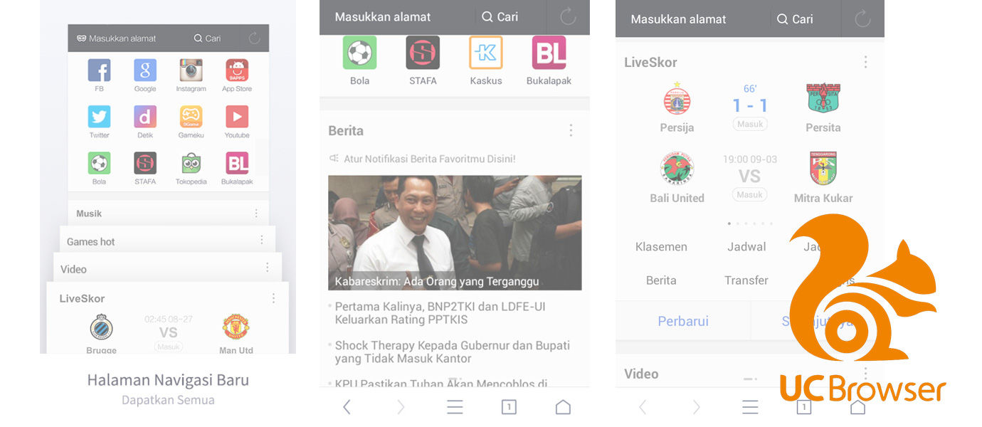 Update Terbaru UC Browser for Android dengan Halaman Navigasi Baru