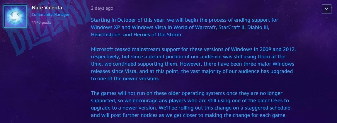 Blizzard Hentikan Dukungan Windows Xp 1