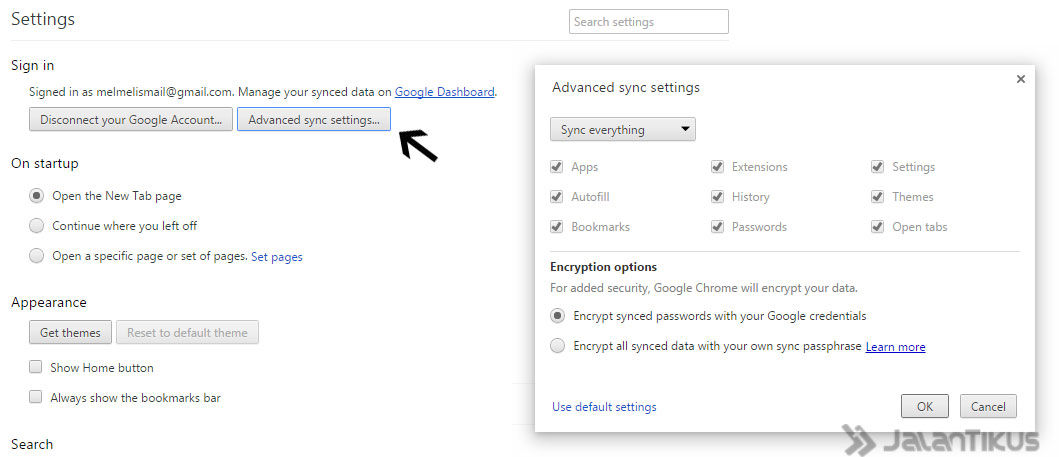 Sync Setting Chrome