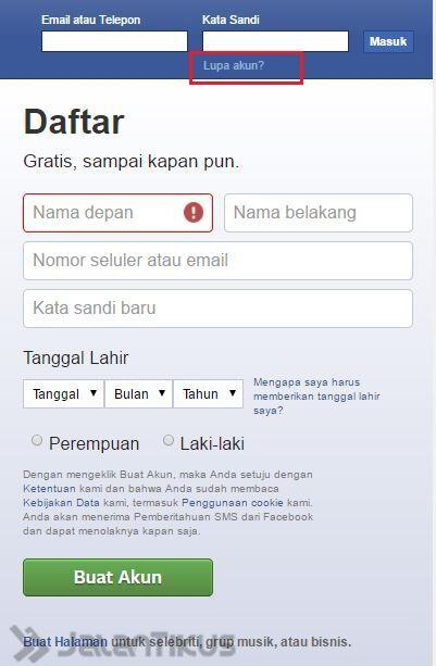 Mengembalikan Akun Facebook 1