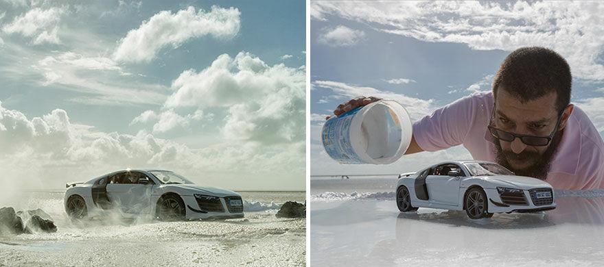 Audi R8 Difoto Dengan Mobil Mainan 1