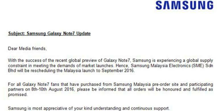 Samsung Galaxy Note 7 Tertunda