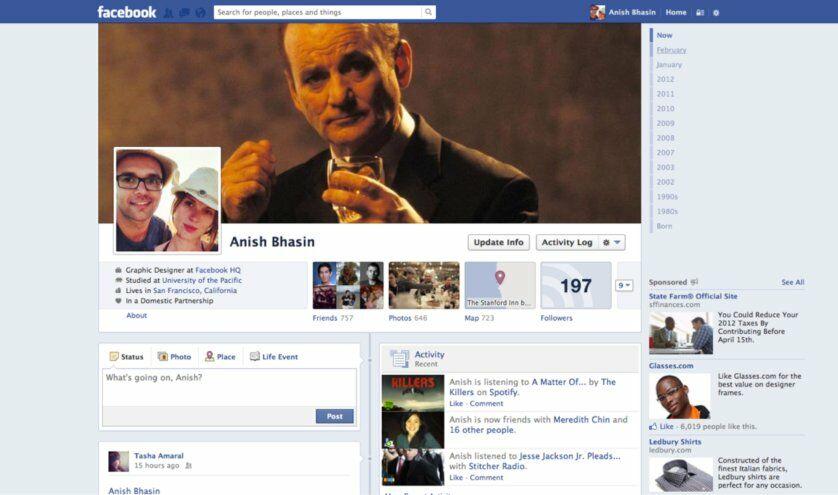Sejarah Tampilan Facebook Tahun 2012