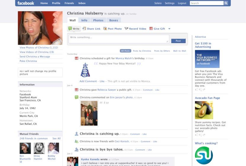 Sejarah Tampilan Facebook Tahun 2008