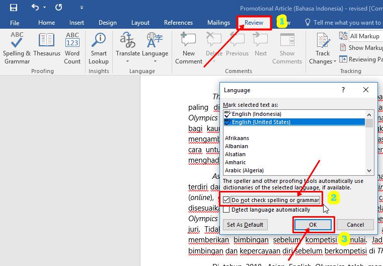 Cara Menghilangkan Garis Hijau Di Ms Word 2010 B0545