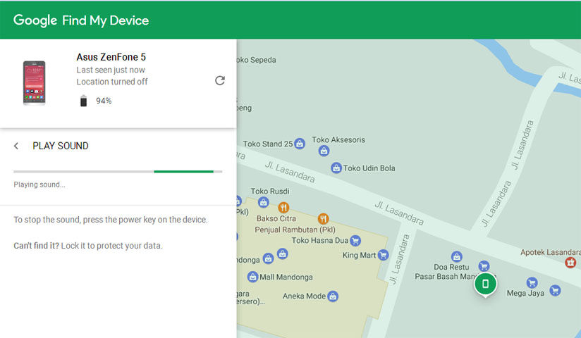 Fitur Play Sound di Google Device Manager