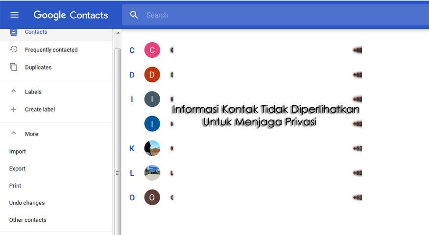 Back-Up Data Kontak